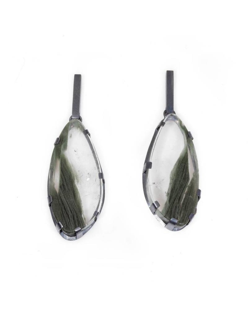 Rutilated Quartz Earrings with Green Striations Prong Set in Oxidized Silver