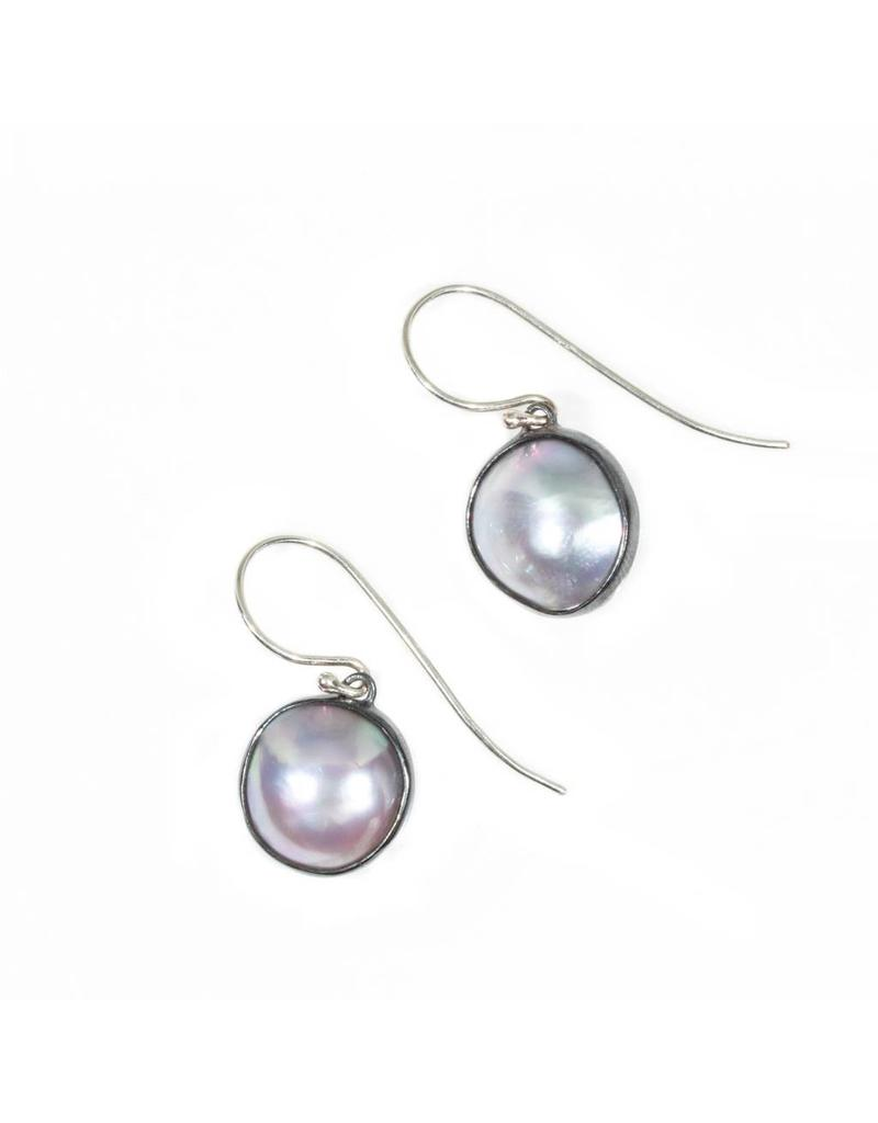 Small Round Mabe Pearls in Oxidized Silver