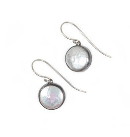 Medium Biwa Earrings in Oxidized Silver with 14K gold  Wires