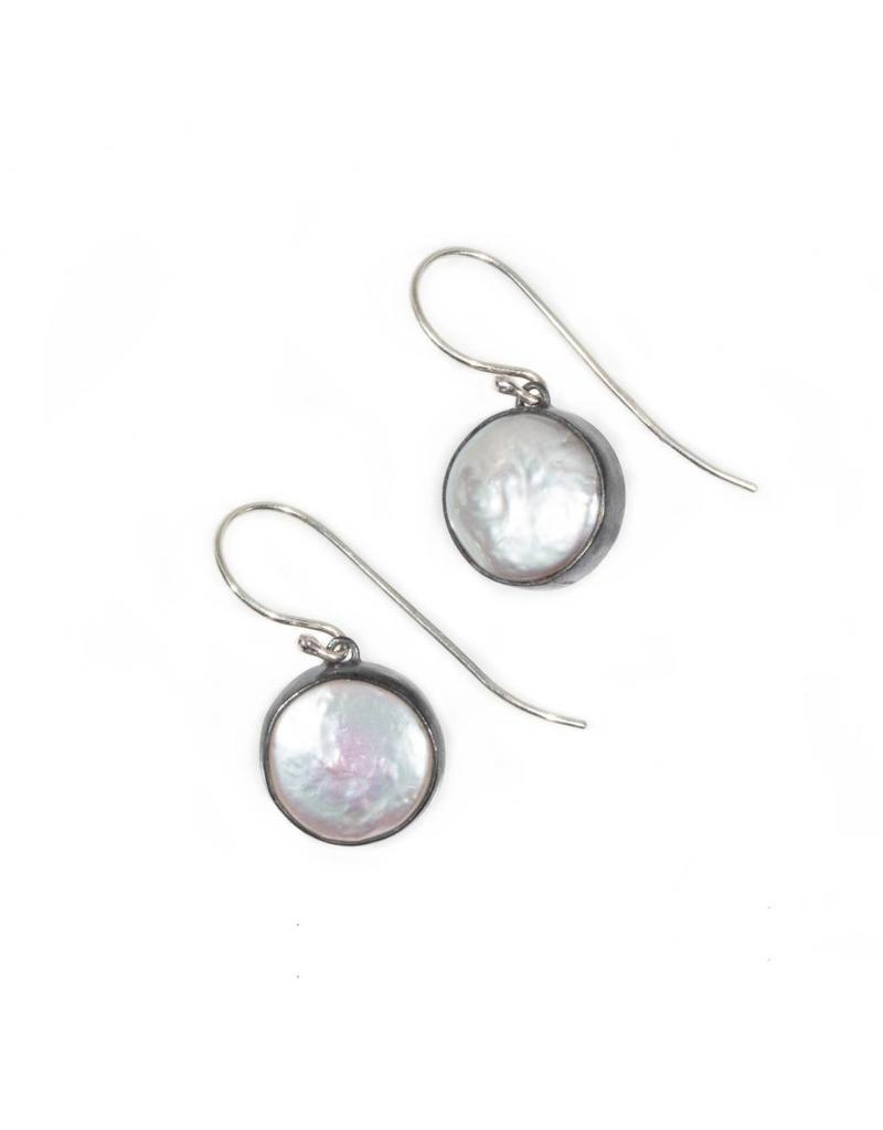 Medium Biwa Earrings in Oxidized Silver with Silver Wires