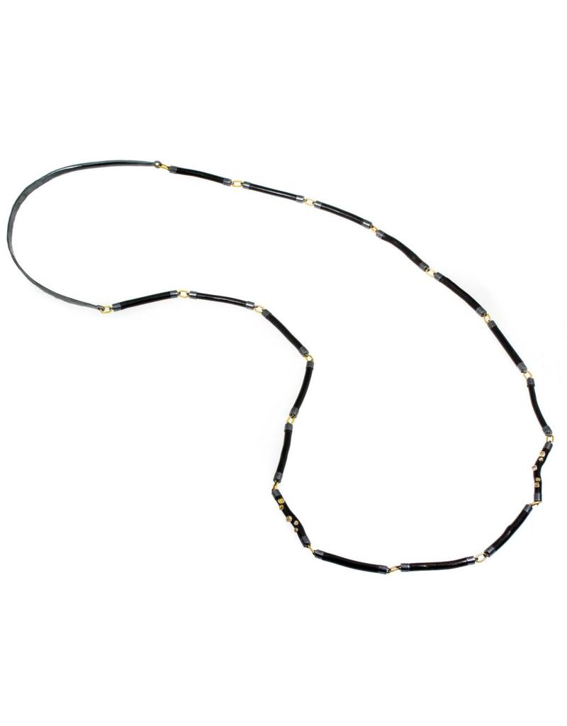Black Coral Stick and Industrial Diamond Bead Necklace