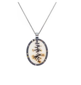 Victorian Agate Pendant with Autumn Diamonds in Oxidized Silver