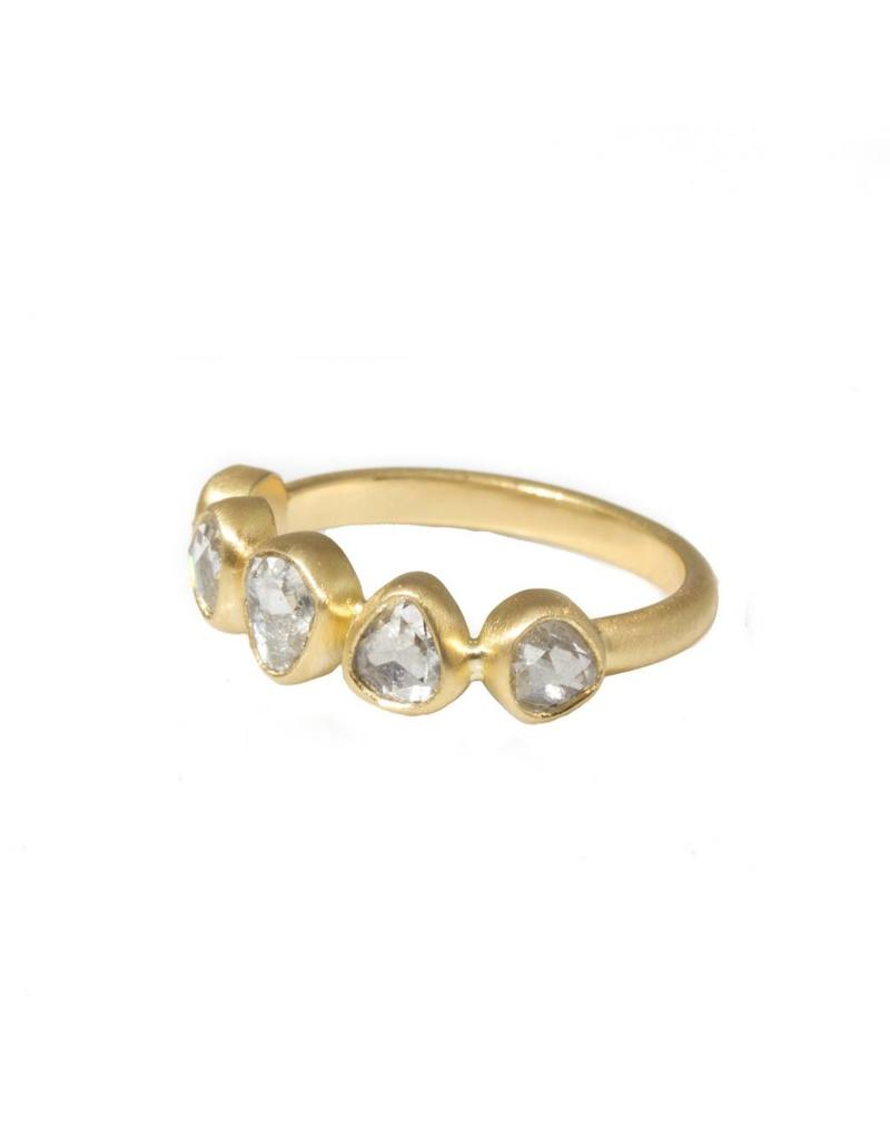 Organic Rose Cut Five Diamond Ring in 18k Yellow Gold