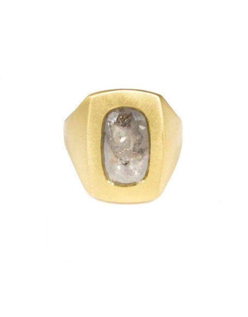 Box Ring with Rustic Grey Diamond in 18k Yellow Gold