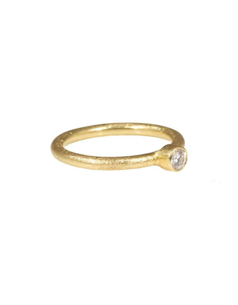 Bezel Set Brilliant Diamond Stack Ring in 18k Yellow Gold