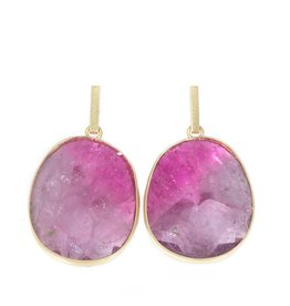 Large Oval Pink Sapphire Drop Earrings in 18k Yellow Gold
