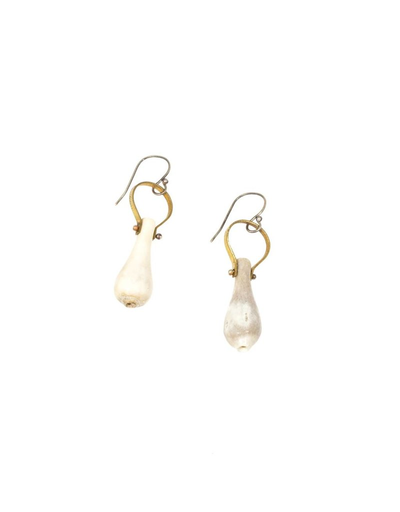 Carved Bell Earrings with Antler in Brass and Silver
