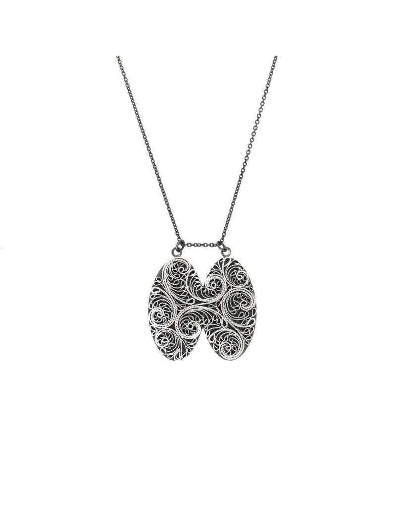 Double Filigree Pendant in Silver