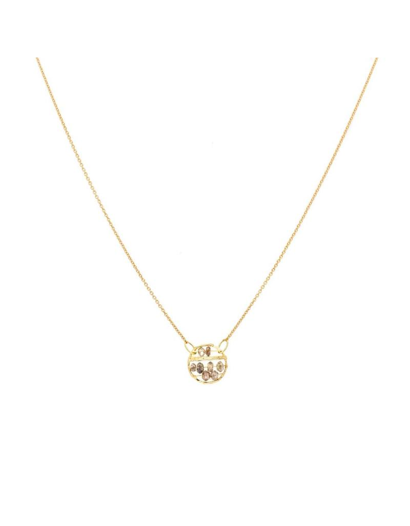 Small Skeleton Pendant with Champagne Diamonds in 18k Yellow Gold