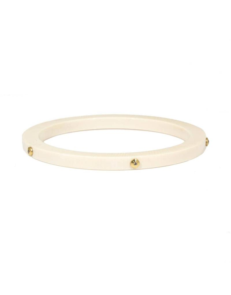 Fossilized Walrus Bangle with Five Cognac Diamonds in Organic Gold Blobs