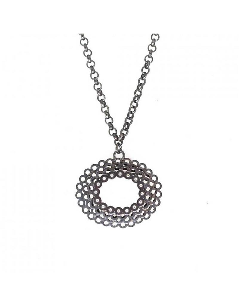Oval Necklace with Diamonds in Oxidized Silver