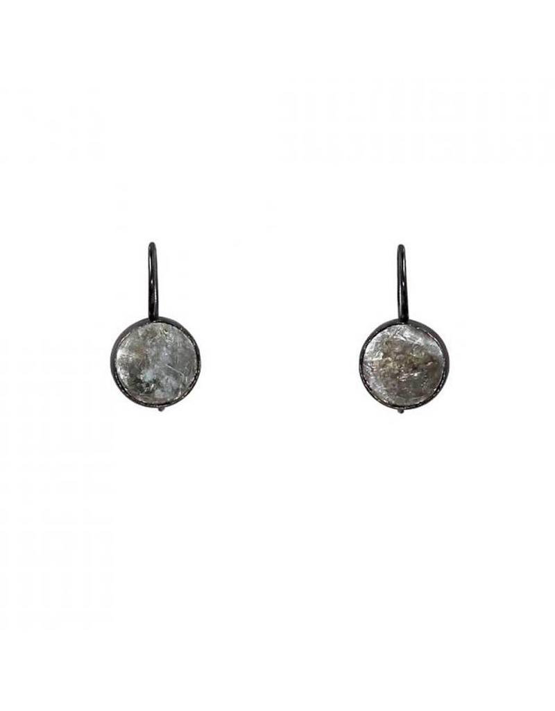 Small Dangle Earrings with Golden Mica in Oxidized Silver