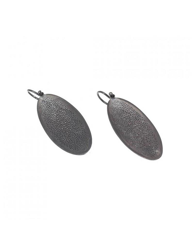 Oxidized Silver Small Perforated Oval Earrings
