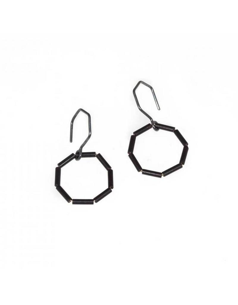 Glass Bead Octagon Earrings in Oxidized Silver