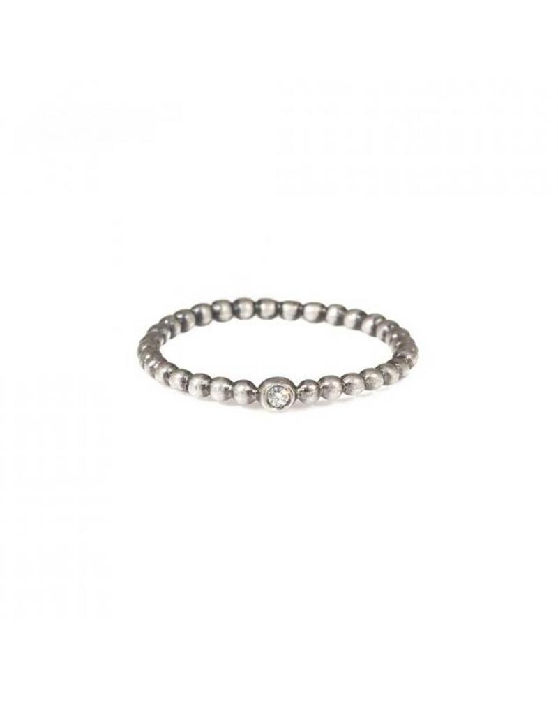 Beaded Band with Diamond in Sterling Silver