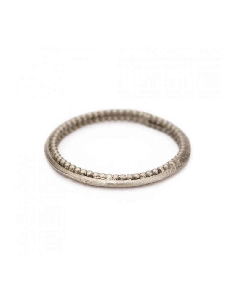 Beaded Edge Band in 18k White Gold