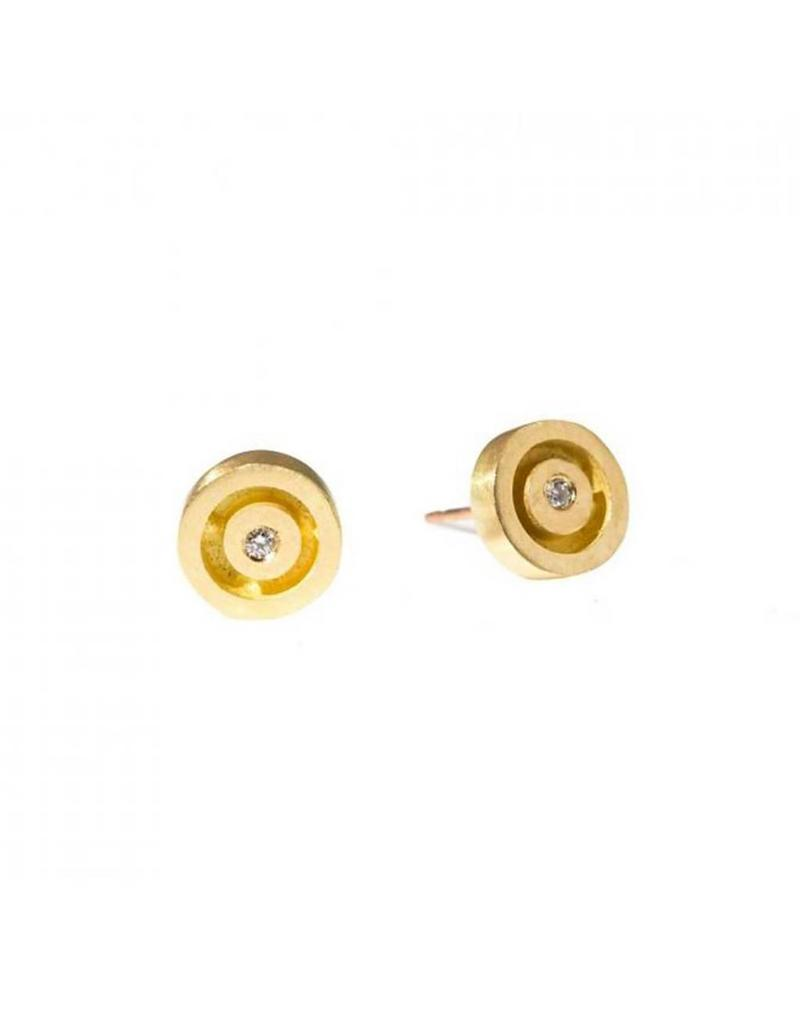Circle Posts with White Diamonds in 18k Yellow Gold