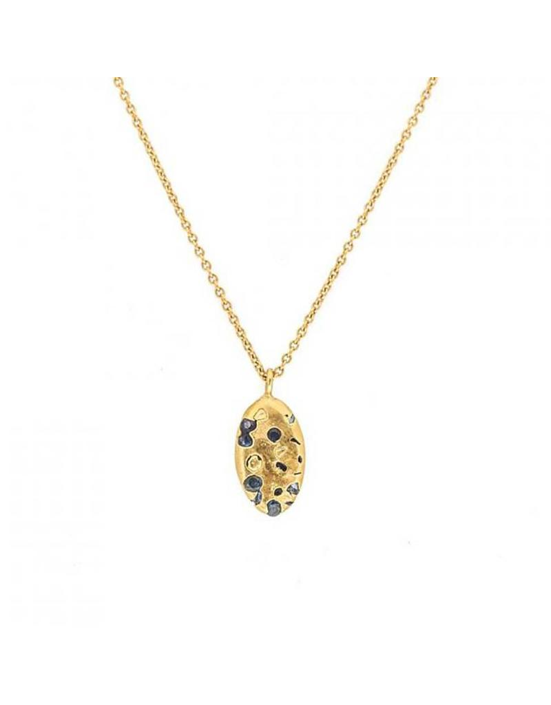 Crystal Drop Pendant with Blue Sapphires in 18k Gold
