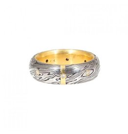 Damascus Steel Half Round Ring with Diamonds and 18k Yellow Gold Liner