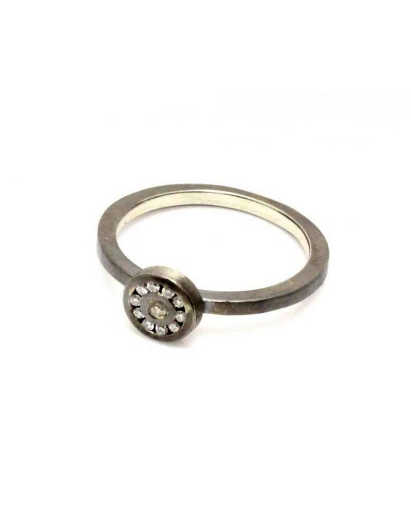 Diamond Circle Ring with White Diamonds in Oxidized Silver