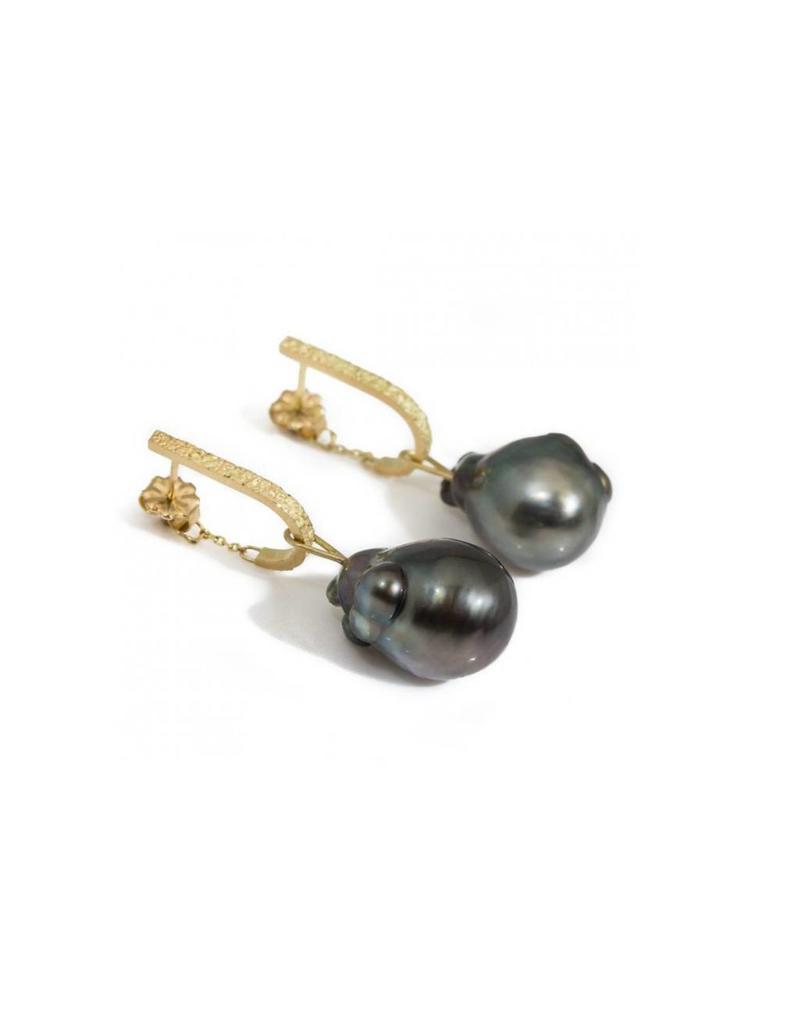 Tahitian Pearl Drop Earrings in 18k Yellow Gold