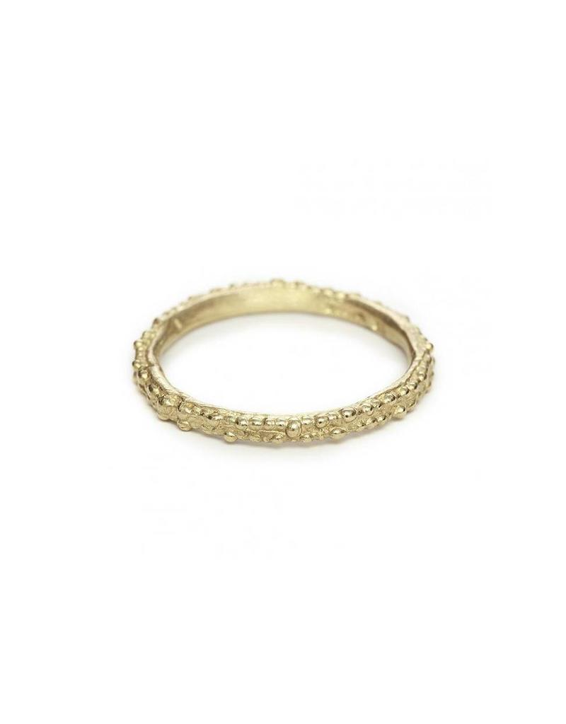 Double Beaded Gold Band in 14k Yellow Gold
