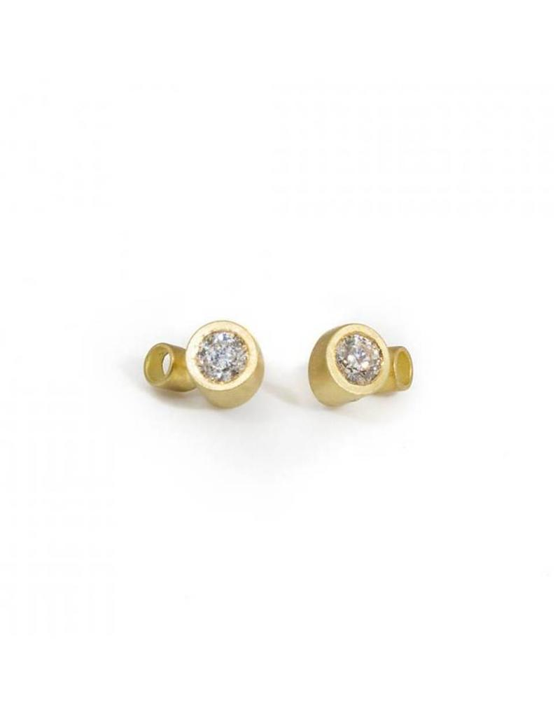 Double Angled Tube & White Diamond Post Earrings in 18k Yellow Gold