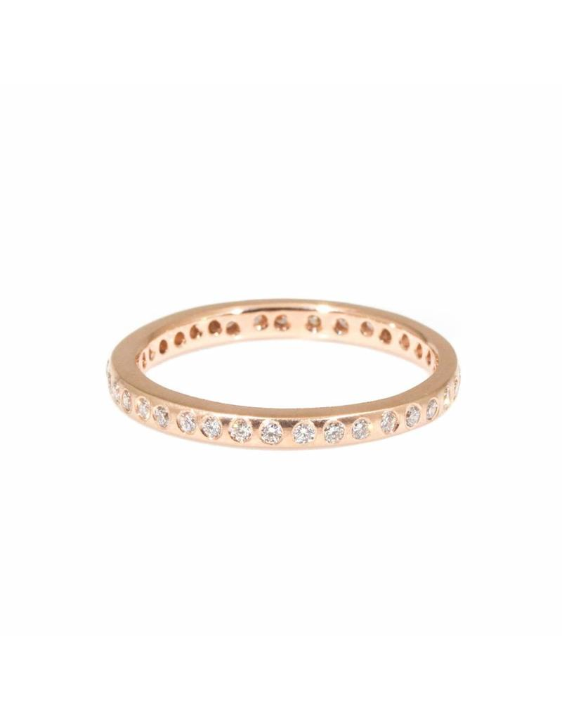 Eternity Band in 14k Rose Gold with Flush Set White Diamonds