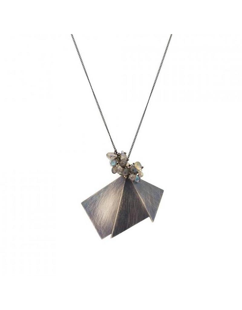 Labradorite and Geometric Silver Shapes Pendant