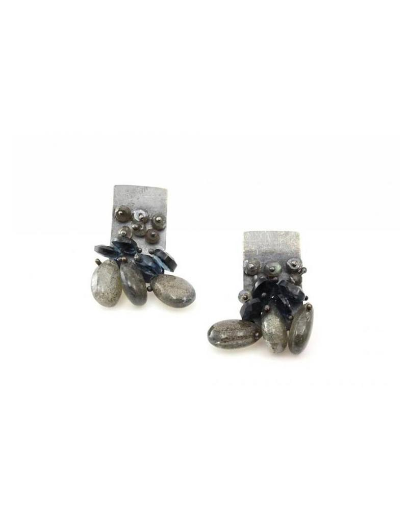 Labradorite and Topaz Cluster Earrings in Silver