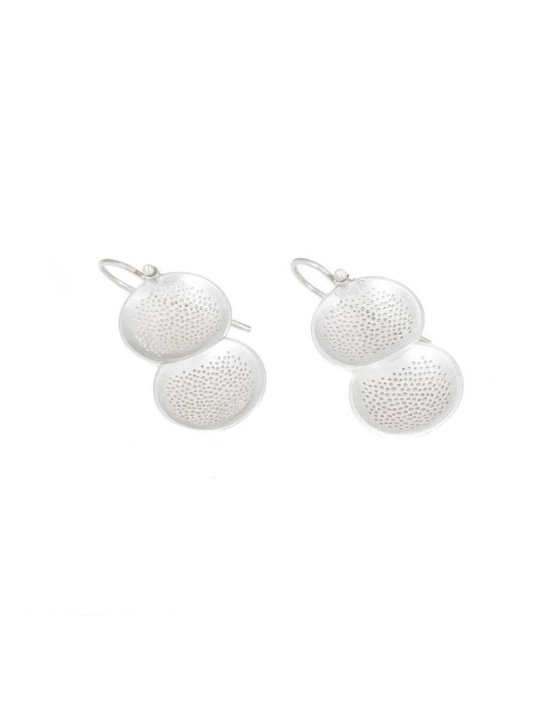 Perforated Double Dome Earrings in Silver