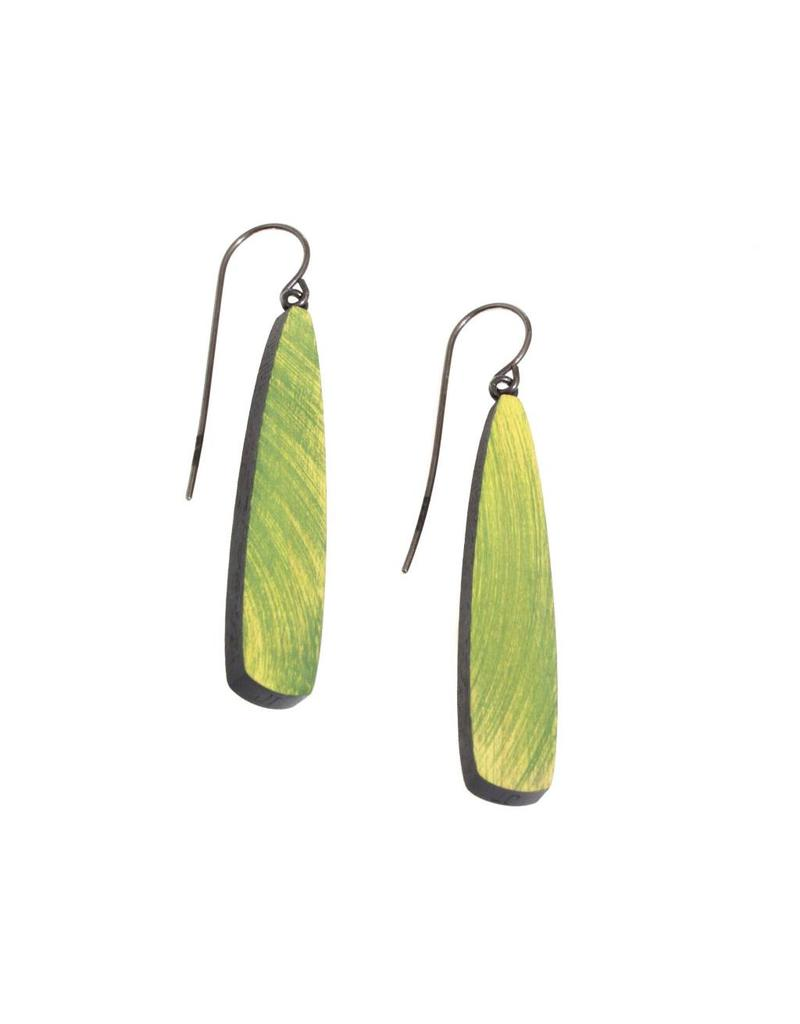 Willow Earrings in Green Wood