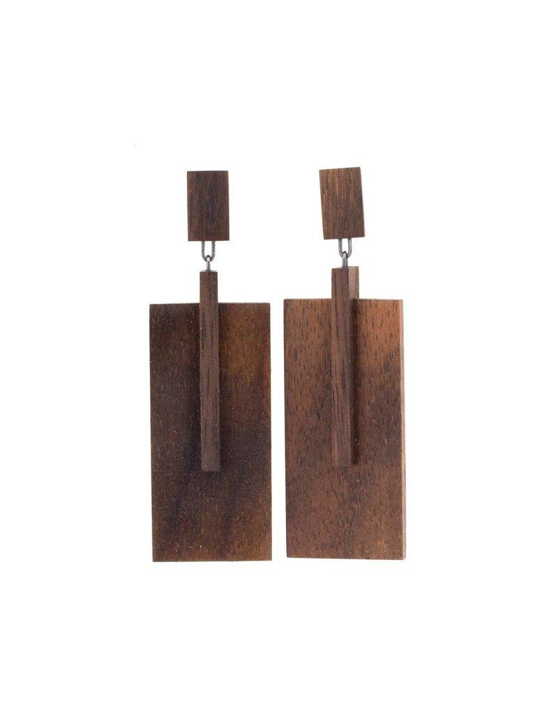 Octavia Earrings in Brown Wood