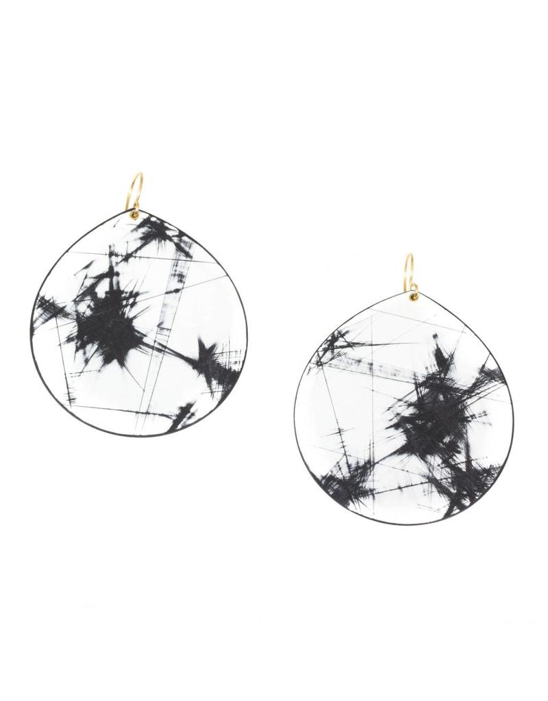 Large Storm Earrings in Black and White