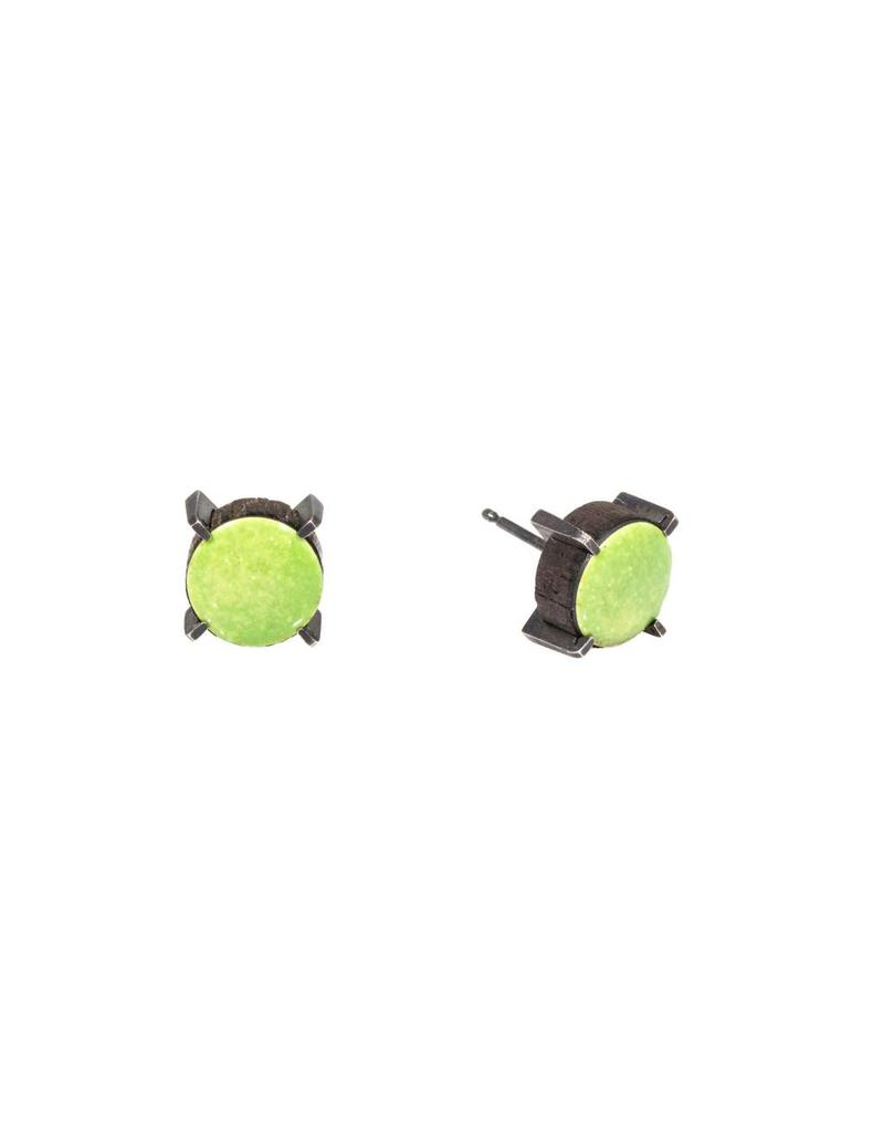 Stereo Earrings (Kiwi) with Green Enamel