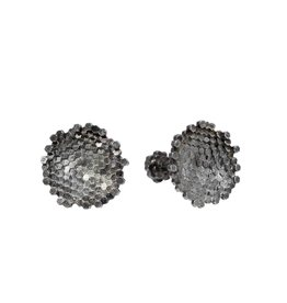 Concave Hex Circle Cufflinks in Oxidized Silver