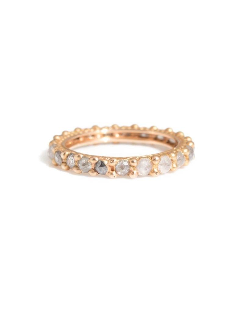 Rapunzel Ring with Rustic Rose Cut Diamonds in 18k Rose Gold