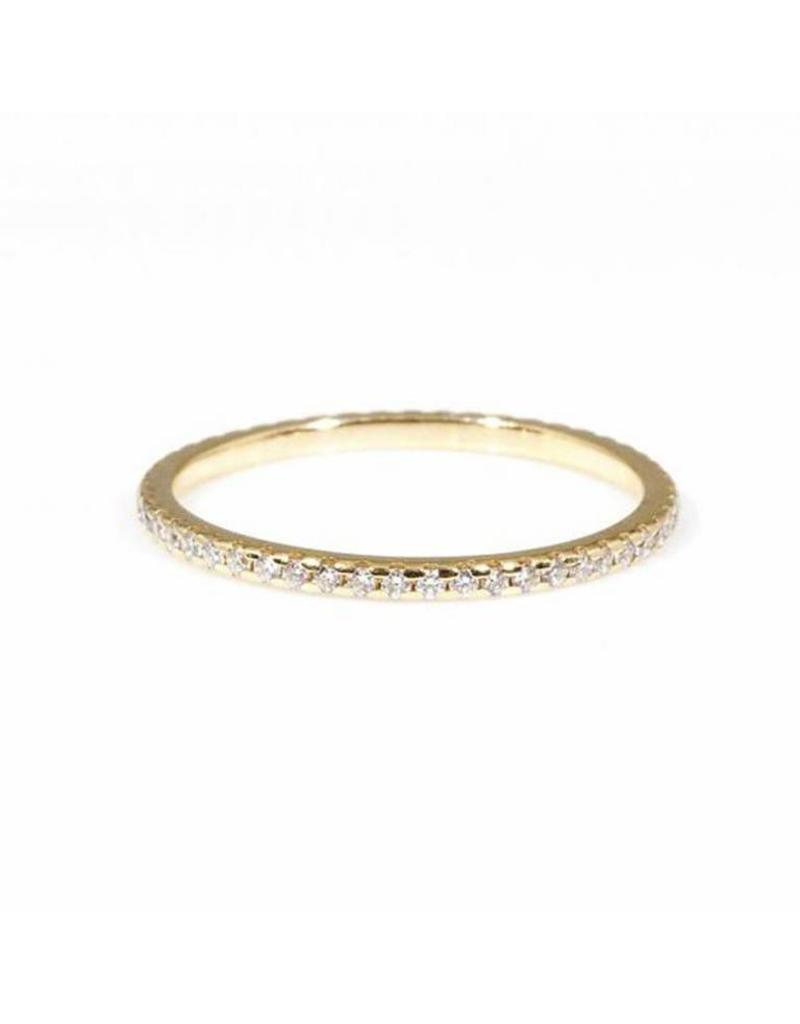 Micro Pave Eternity Band Ring with White Diamonds in 14k Yellow Gold