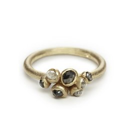 Grey Diamond Cluster Ring in 14k Yellow Gold