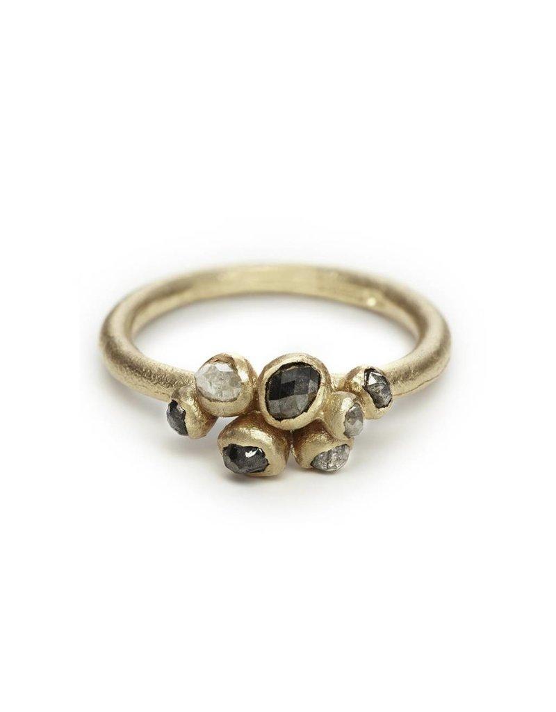 Grey Diamond Cluster Ring in 14k Yellow Gold