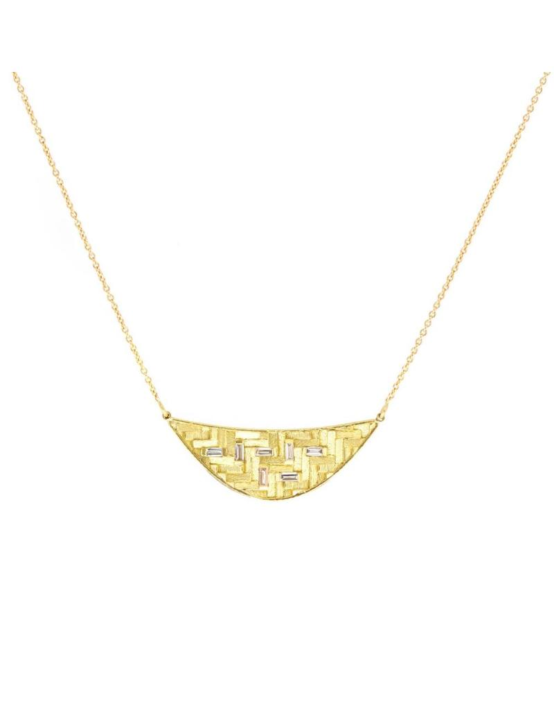 Parquet Crescent Necklace in 18k Yellow Gold with White Baguettes