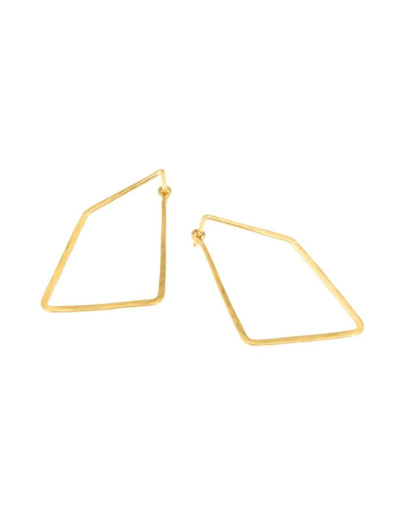 Angle Hoop Earrings in 18k Yellow Gold