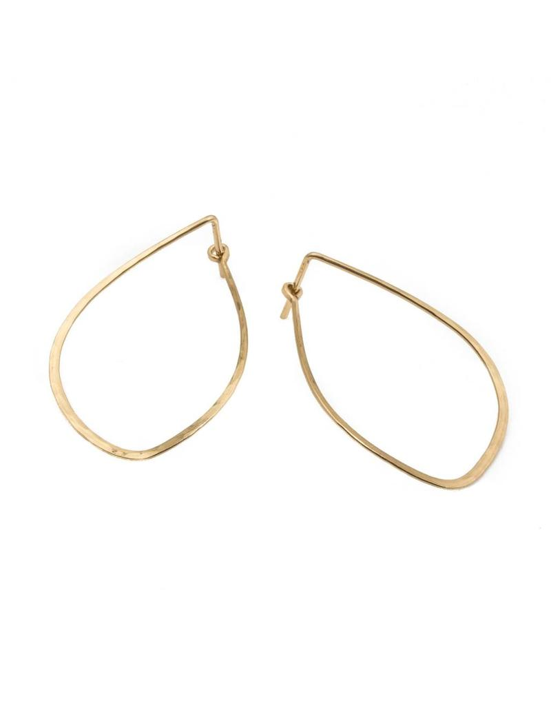 Mussel Hoop Earrings in 14k Yellow Gold