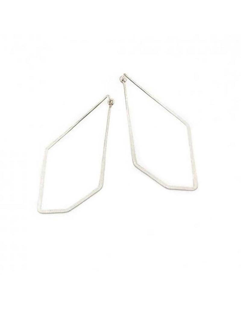 Long Angle Hoop Earrings in Silver