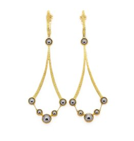 Ball Bearing Chandelier Earrings  in 18k and 22k Gold