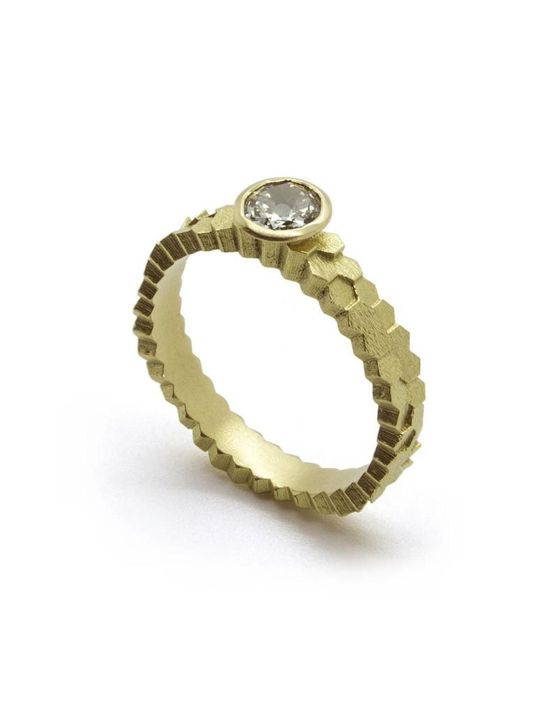 Double Hex Diamond Solitaire Ring in 18k Yellow Gold