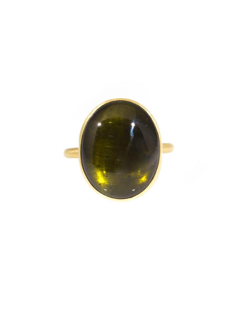 Green Tourmaline Cabochon Thin Band Ring in 18k Yellow Gold