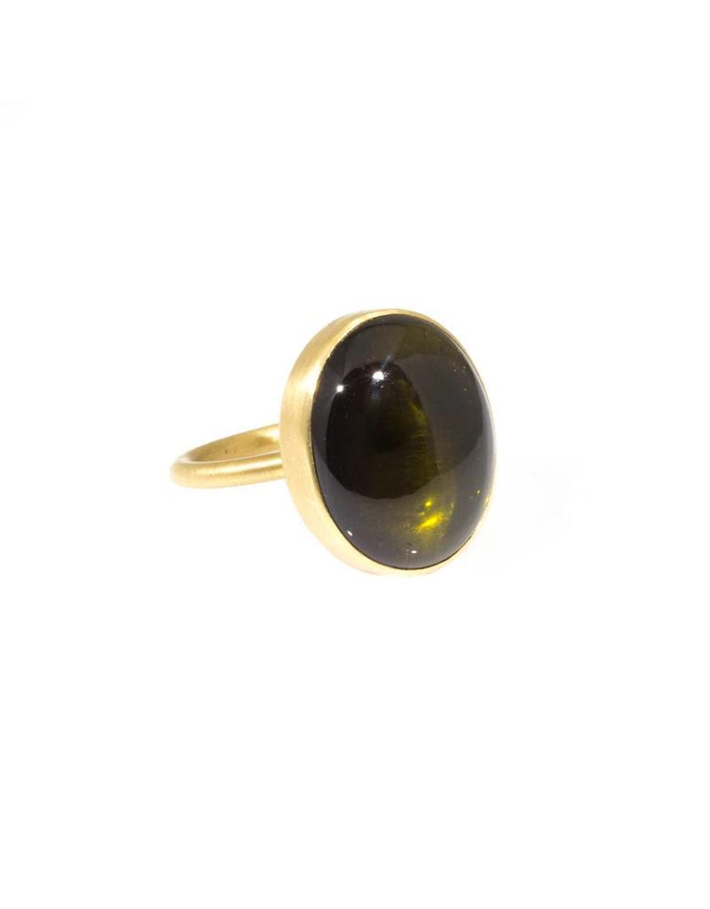 Green Tourmaline Cabochon Thin Band Ring in 18K Gold