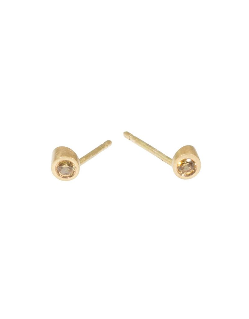Angled Tube & Yellow Sapphire Post Earrings in 18k Yellow Gold