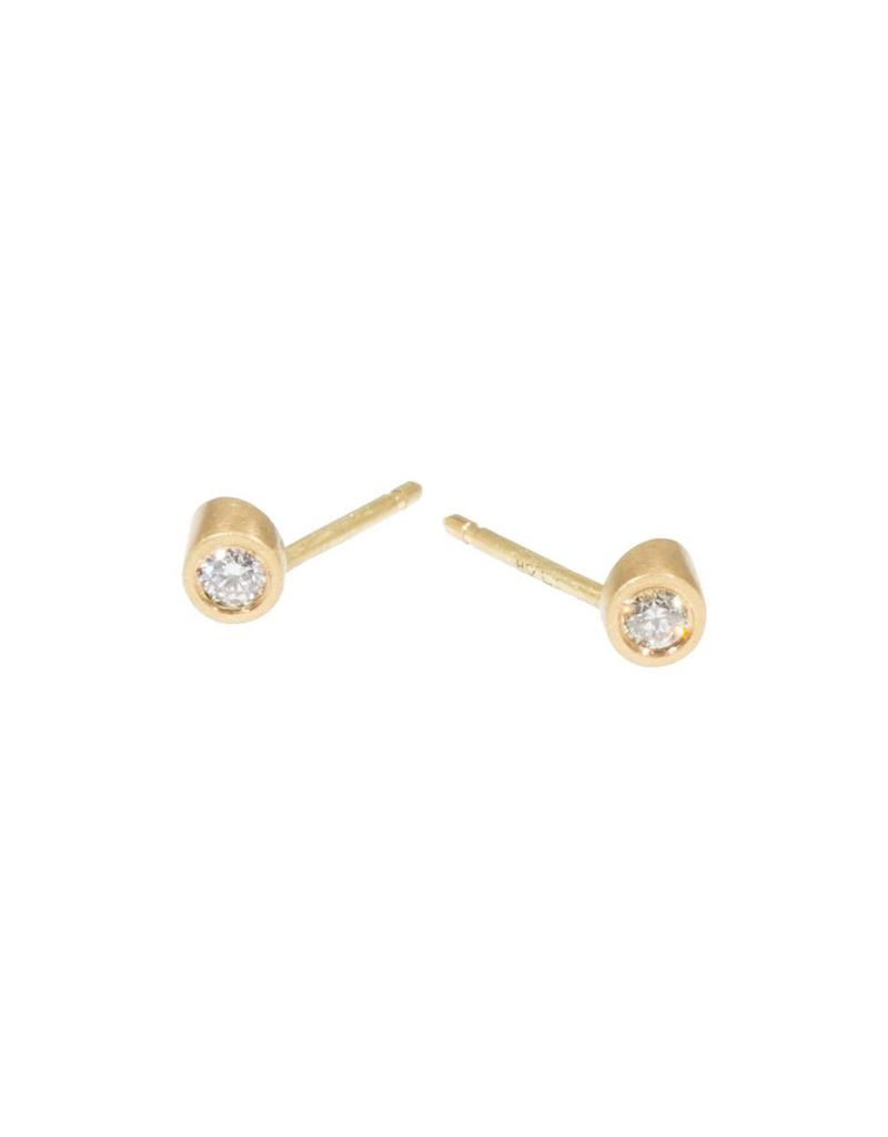 Angled Tube & White Diamond Post Earrings in 18k Yellow Gold